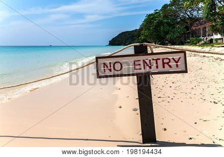 Private beach on the Maiton island, Thailand, on a sunny day. Notice