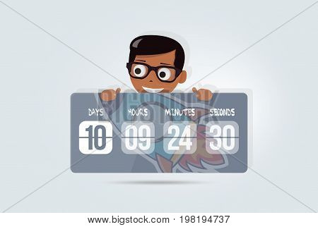 Countdown web site digital clock timer background for coming soon. Elements of web design for kindergarten, schools and colleges.