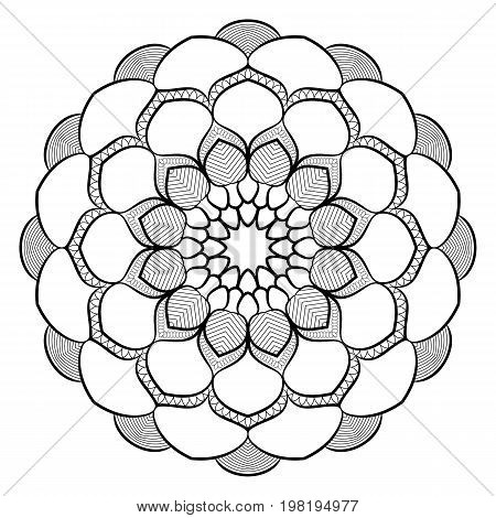 Monochrome mandala for color book. Symmetrical pattern in the circle. Illustration for the album. Pattern for printing on fabrics. Figure for relaxation and meditation. Coloring for children.