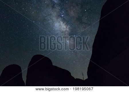 Milky Way over desert boulders horizontal in silhouette with one stem desert brush