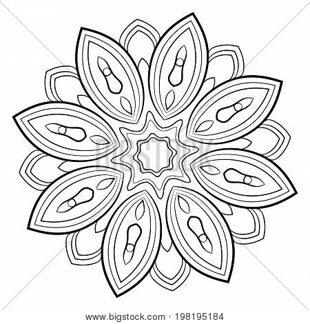 Contour mandala for color book. Monochrome image. Symmetrical pattern. Illustration for scrapbook. Picture for meditation and relaxation. Beautiful graphics for the album.
