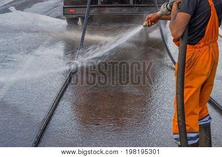 Street Sprayed Clean With Pressurized Water