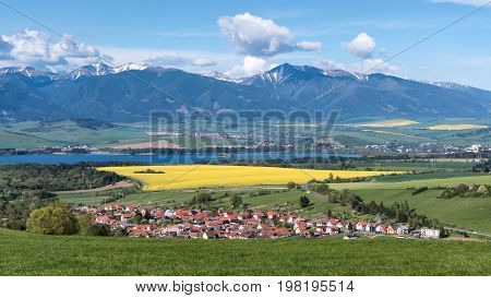West Tatras mountains and village at Slovakia