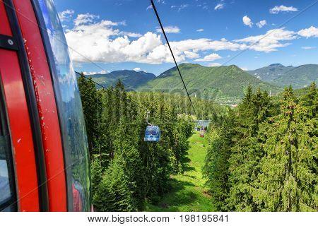 RUZOMBEROK? SLOVAKIA - JUN 20: Ropeway in mountain resort Malino Brdo on Jun 20 2016 in Ruzomberok