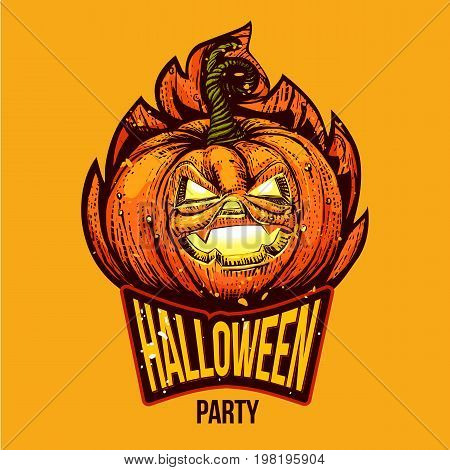 Halloween Party lettering logo with engraved pumpkin Jack. Halloween typography invitation card with holiday character. Vector illustration. Sketch styled