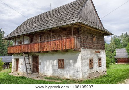 Wooden cottage in open-air museum of Slovak village Martin - Slovakia