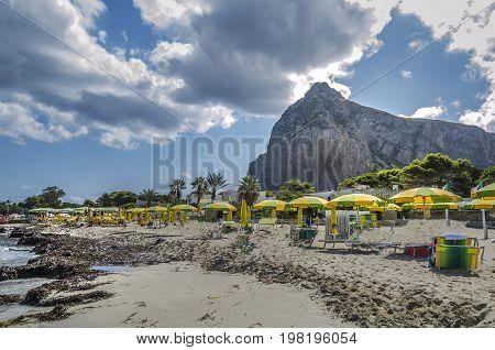 Tourist beach of San Vito lo Capo in the Sicilian Mediterranean