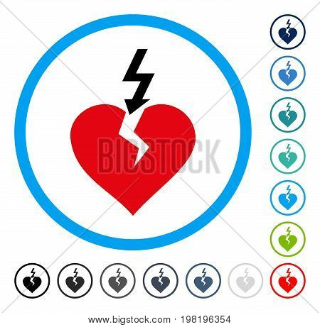 Break Heart icon inside round frame. Vector illustration style is a flat iconic symbol in some color versions.