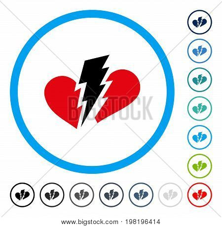 Broken Heart icon inside round frame. Vector illustration style is a flat iconic symbol in some color versions.