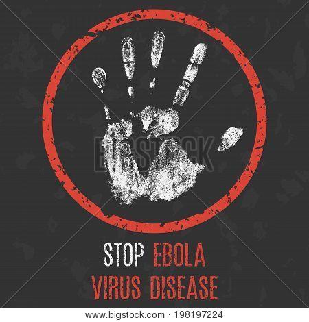 Conceptual vector illustration. The medical diagnosis. Stop Ebola virus disease.