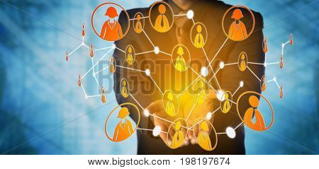 Blue chip manager is offering a virtual web group of interlinked white collar workers. Business concept for professional social network peer to peer networking team work and online community.