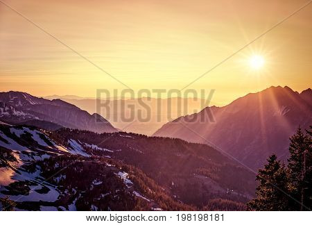 Summer sunset in the Mountains in Little Cottonwood Canyon, Utah.