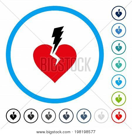 Love Heart Crash icon inside circle frame. Vector illustration style is a flat iconic symbol in some color versions.