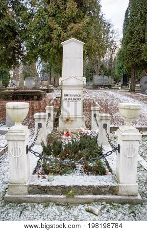 MARTIN SLOVAKIA - DECEMBER 15: Grave of Martin Kukucin in Slovak national cemetery on December 15 2016 in Martin