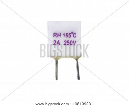 Thermal fuse cut-off for electronics circuit isolated on white background. electronics part concept.