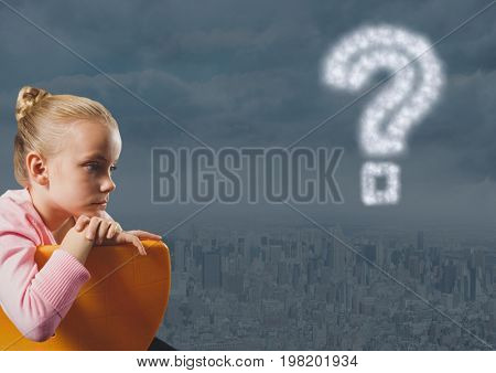 Digital composite of Girl thinking and contemplating over city with question mark in the sky