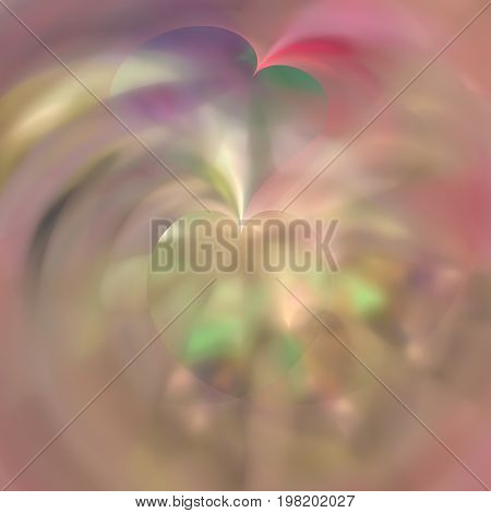 Blurred background of translucent fractal pink and purple hearts.