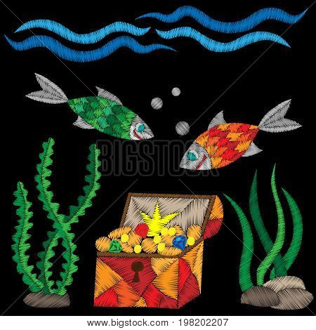 Pirate trunk under water with treasure and fish embroidery stitches imitation on black background. Embroidery vector illustration with trunk fish wave.
