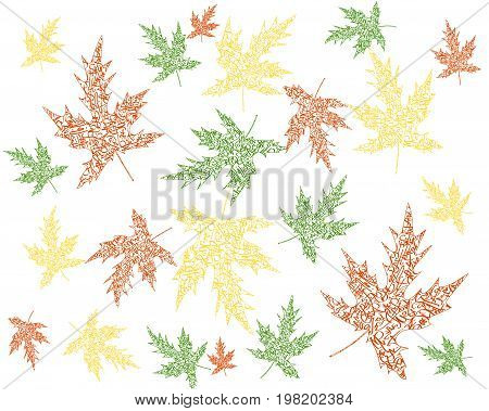 the leaf from green yellow red leaves with delicate letters