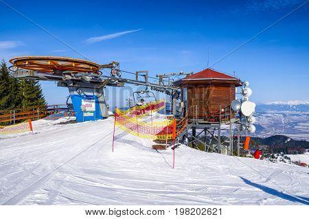 RUZOMBEROK SLOVAKIA - FEBRUARY 11: Cableway in Ski resort malino Brdo at great fatra mountains on fabruary 11 2017 in Ruzomberok