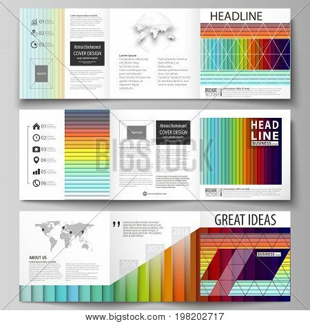 Business templates for tri fold square brochures. Leaflet cover, vector layout. Bright color rectangles, colorful design, overlapping geometric rectangular shapes forming abstract beautiful background