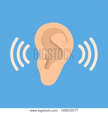 Ear icon in flat style isolated on blue background. Part of body symbol stock vector illustration. Listen, hearing, sound icon