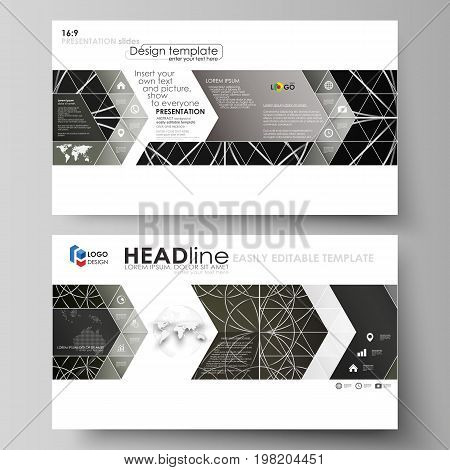 Business templates in HD format for presentation slides. Easy editable vector layouts in flat design. Celtic pattern. Abstract ornament, geometric vintage texture, medieval classic ethnic style.
