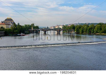 Vltava river view from Charles Bridge, Prague, Czech Republic