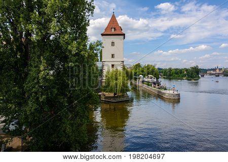Lesser town water tower on Vltava river in Prague, Czech Republic