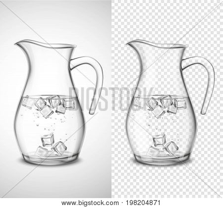 Glass jug with water ice cubes and bubbles on white and transparent background isolated vector illustration