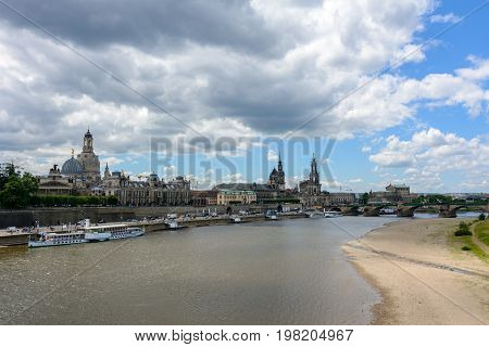 Old Town of Dresden on the Elbe River, Saxony Germany