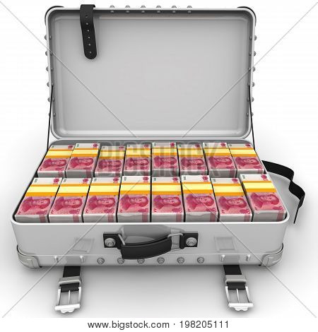 Suitcase full of Chinese banknotes (yuan). A suitcase filled with bundles of Chinese banknotes (yuan). Isolated. 3D Illustration