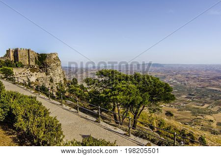 Going down from the city of erice you can see the irregular territory of the island