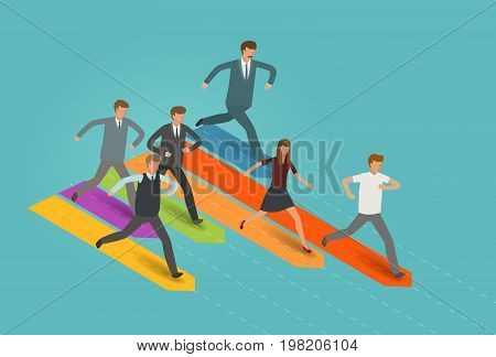 Startup, business concept. Businessman and group of business people running to the goal. Infographics vector illustration