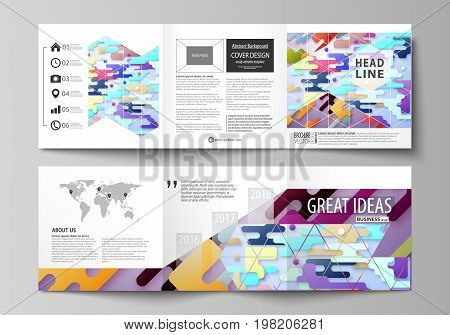 Business templates for tri fold square design brochures. Leaflet cover, abstract vector layout. Bright color lines and dots, colorful minimalist backdrop, geometric shapes, minimalistic background.