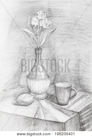 Black And White Still-life With Flowers In Bottle