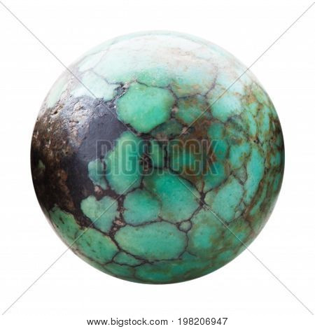 Ball From Natural Turquoise Gemstone Isolated