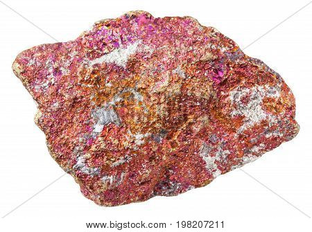Piece Of Red Chalcopyrite Stone Isolated