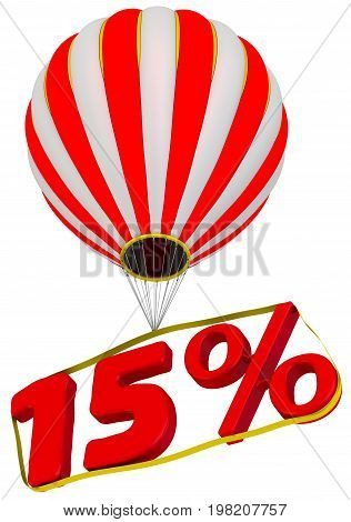 Fifteen percent flies in a hot air balloon. Isolated. 3D Illustration