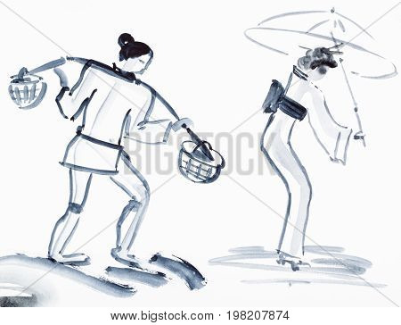 Peasant With Yoke And Japanese Woman With Umbrella
