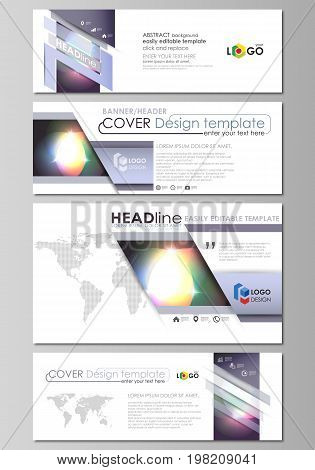 Social media and email headers set, modern banners. Business templates. Easy editable abstract template, vector layouts in popular sizes. Retro style, mystical Sci-Fi background. Futuristic design.
