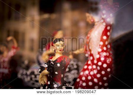 Mannequin of woman dancing sevillanas. Standard figure