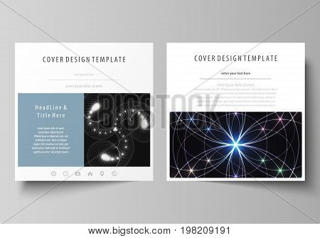 Business templates for square design brochure, magazine, flyer, booklet or annual report. Leaflet cover, abstract vector layout. Sacred geometry, glowing geometrical ornament. Mystical background.