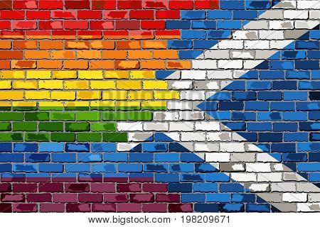 Brick Wall Scotland and Gay flags - Illustration,  Scottish flag & Rainbow flag  on brick textured background