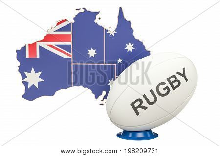 Rugby Ball with map of Australia 3D rendering