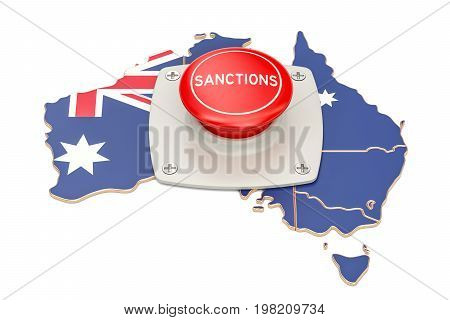 Sanctions button on map of Australia 3D rendering isolated on white background