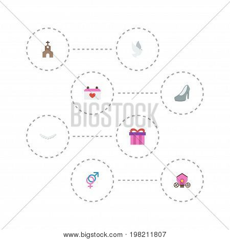 Flat Icons Chariot, Jewelry, Present And Other Vector Elements