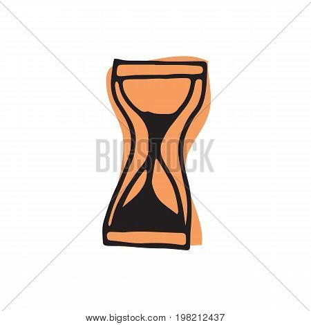 Sand clock icon in hand drawn style for web infographics and creative design