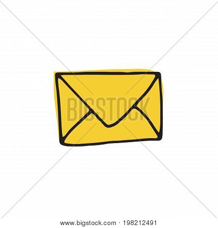 Mail icon in hand drawn style for web infographics and creative design