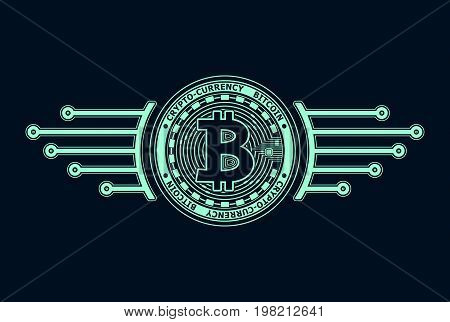 Crypto-currency bitcoin emblem or symbol blue on black for icon  or for news about internet money or for advertising e-business